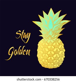Fresh Golden Pineapple isolated on black background. Hand-drawn ink vector illustration for t-shirts, banners, posters etc