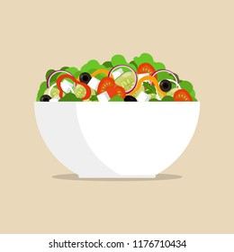 Fresh greek salad in big bowl, side view. Tomato, sweet pepper, onion, greens, cheese, olives, cucumber, mixed in plate Vector flat illustration