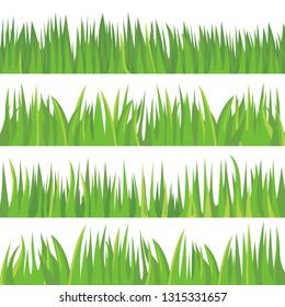 Fresh green grass illustration set