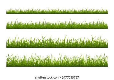 Fresh green grass line flat vector seamless pattern