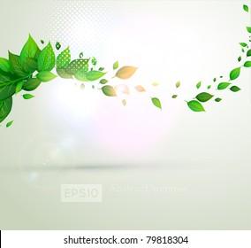 fresh green leaves for summer banner design