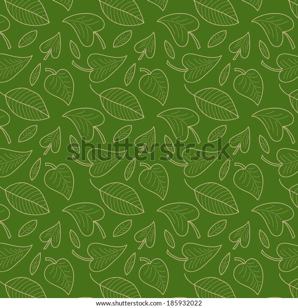 Fresh green leaves vector seamless pattern. Foliage background. Endless texture can be used for wallpaper, website background, textile printing.