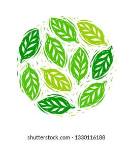 Fresh green linocut silhouettes leaves spring illustration, vector