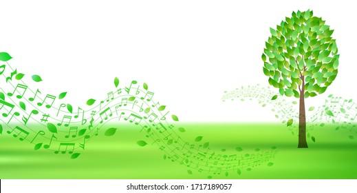 Fresh green tree leaves background
