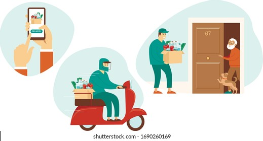 Fresh Groceries and Food Delivery for Elderly People. Old Seniorman Receiving Parcel. Meal Basket as Social Help and Support. Volunteerism. Online Order Service during quarantine