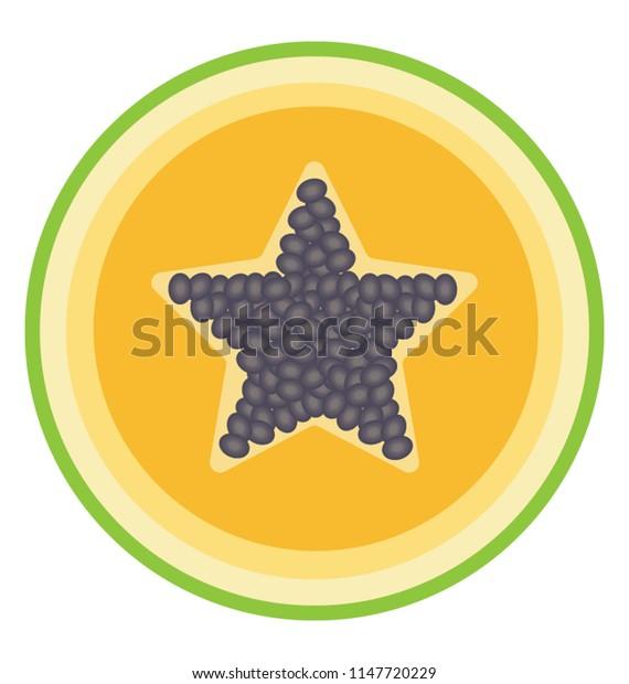 A fresh half cut piece of fruit having star shaped small seeds, papaya