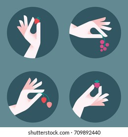 Fresh and handpicked! Women's hands holding berries in various gestures. Vintage flat style vector illustration. Iconic elements for retro design.