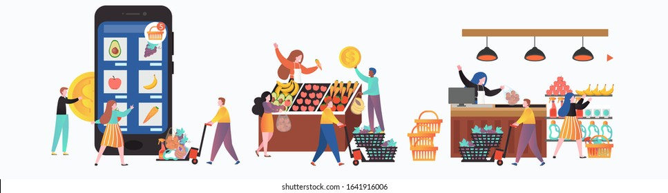Fresh and healthy fruit and veg market stalls with male and female characters sellers and buyers, vector illustration. Bazar, online farmers market concept for web banner, website page etc.