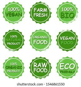 Fresh healthy organic vegan food logo labels and tags. Vector illustration.
