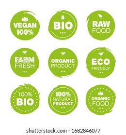 Fresh healthy organic vegan food set logo labels and tags the different design and green color. Vector hand drawn illustration.