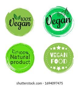 Fresh healthy organic vegan food logo labels and tags. Vector hand drawn illustration. Round eco green logo. Vegan food sign with leaves. tag for cafe restaurants packaging design.