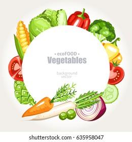 fresh healthy vegetarian vegetables background round