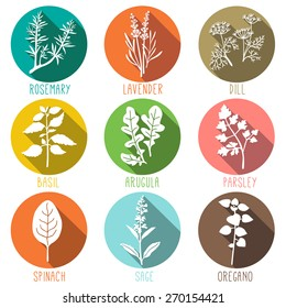Fresh herbs and spices icon set flat style icons in circles with long shadows. Vector illustration.
