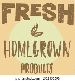 fresh homegrown products icons, labels. Organic tags. Natural product elements. Logo for vegetarian restaurant menu. Fresh, organic, gluten free, 100% bio, premium quality, locally grown, healthy food