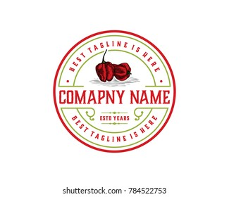 Fresh Hot Chili - Red Pepper Hand Drawing Vintage Logo Company Vector Stamp Circle