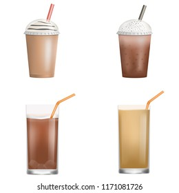 Fresh ice coffee icon set. Realistic set of fresh ice coffee vector icons for web design isolated on white background