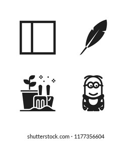 fresh icon. 4 fresh vector icons set. minion, leaf and layout icons for web and design about fresh theme