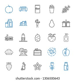 fresh icons set. Collection of fresh with milk, rose, carambola, olive oil, strawberry, apple, environment, vegetable, mushroom, pie, soap. Editable and scalable fresh icons.