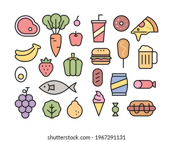 Fresh ingredients and high calorie foods icon collection. flat design style minimal vector illustration.