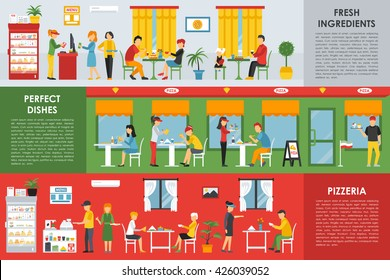 Fresh Ingredients, Perfect Dishes and Pizzeria flat concept web vector illustration. People, Visitors, Waiters. Pizza Restaurant interior presentation.