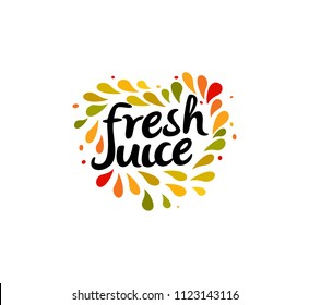 Fresh juice emblem. Colorful juice drops splashed around the heart shape with text inside on white background. Modern fun style logo template.