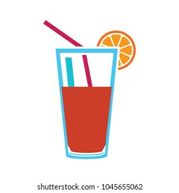 fresh juice icon, vector cold tropical juice