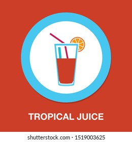fresh juice icon, vector cold tropical juice