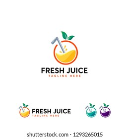 Fresh Juice logo designs template, Orange juice logo template