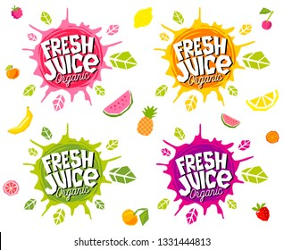 Fresh juice logo emblem bright splash shiny stickers, organic emblems banners labels , fruits vegetables fresh smoothies. Vegan eco bio green healthy food. Hand drawn vector illustration.