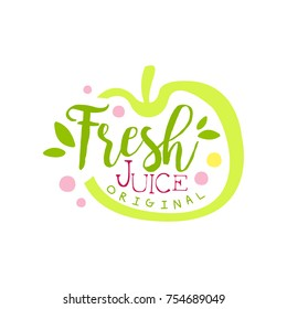 Fresh juice original logo template, apple juice label, eco product element, colorful hand drawn vector Illustration on a white background