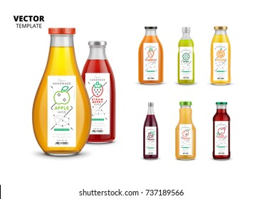 Fresh juice realistic glass bottles with trendy linear style labels. Healthy organic product vector packaging mockup set. Apple, kiwi, pomegranate, orange, grape, carrot, peach and strawberry stickers