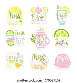 Fresh juice set of logo templates hand drawn colorful vector Illustrations