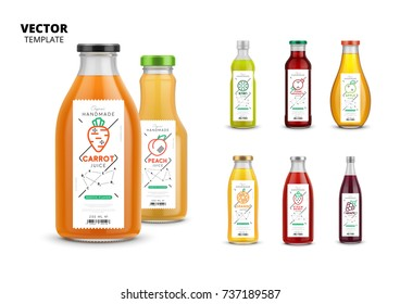 Fresh juice vector packaging mockup set. Realistic glass bottles with modern linear labels, food identity branding. Apple, kiwi, pomegranate, orange, grape, carrot, peach and strawberry natural juice