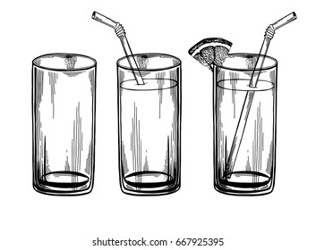 Fresh juice, water, drink. Glass set. Illustration isolated on white background. Engraving style.
