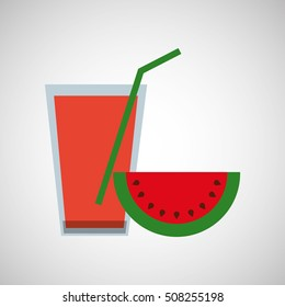 fresh juice watermelon and cup glass straw design vector illustration eps 10