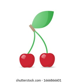 fresh juicy cherry icon tasty ripe fruit isolated on white background healthy food concept vector illustration