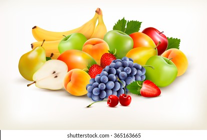 Fresh juicy fruit and berries isolated on white background. Vector