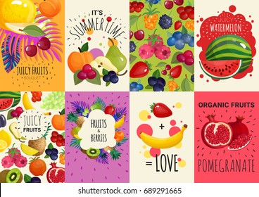 Fresh juicy fruits and berries 8 colorful advertisement banners composition poster with watermelon and pomegranate  isolated vector illustration