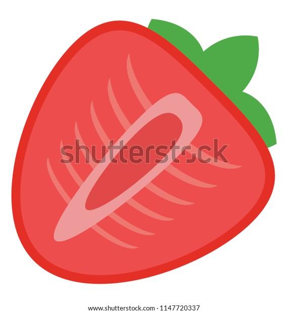 A fresh juicy half cut piece of strawberry