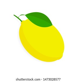 Fresh and juicy lemon with green leaf on white background. Vector illustration