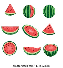 Fresh and juicy whole watermelons and slices