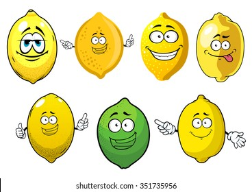 Fresh juicy yellow lemons and green lime fruits cartoon characters with happy faces. Isolated on white, cartoon style