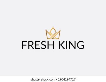 Fresh king Abstract crown emblem logo design