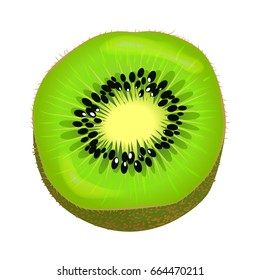 Fresh kiwi fruit half isolated on white. Vector illustration of kiwi part colorful element with brown skin, green color inside with little black seeds and light center. Succulent isolated fresh kiwi