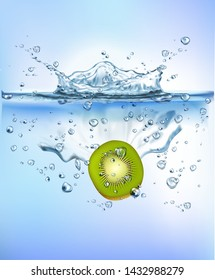 fresh kiwi slice splashing into blue clear water splash healthy food diet freshness concept isolated white background. Realistic Vector Illustration.