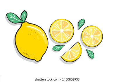 Fresh lemon fruit summer Pop art slices and green leaves. Beautiful pastel colour design elements, perfect for prints, wallpaper and background