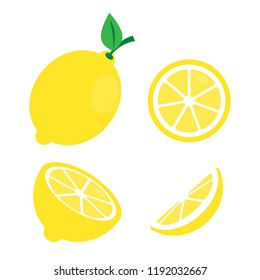 Fresh lemon fruits with branch and slice icon vector illustration