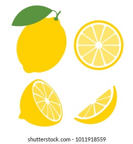 Fresh lemon fruits, collection of vector illustrations