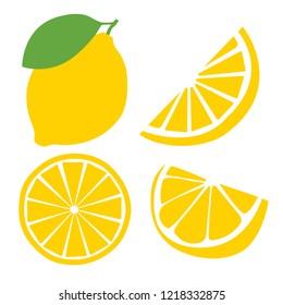 Fresh lemon fruits, flat vector illustrations