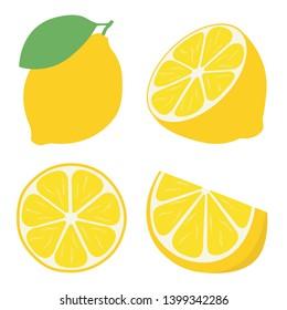 Fresh lemon fruits, flat vector illustration concept image icon